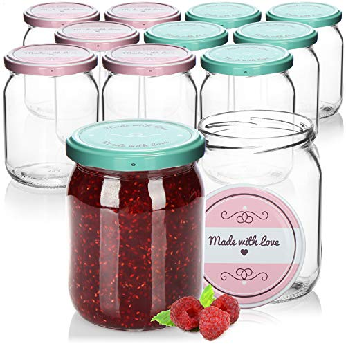 "com-four® 12x Tarros de Cristal para Conservas con Tapa de Rosca""Made with love"" en Verde y Rosa - TO Ø 82 mm - 490 ml"
