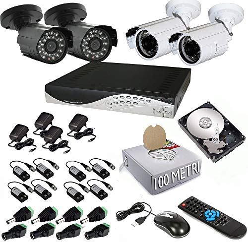 TrAdE Shop Traesio Kit DVR 4 Telecamera 600 TVL VIDEOSORVEGLIANZA LAN HD 500GB BALUN iPhone Android