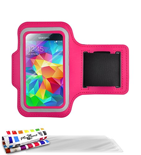 MUZZANO Tonic Sportarmband aus Neopren mit Anti-Rutsch-Candy Pink-Pack Displayschutzfolien für Samsung Galaxy S5