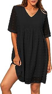 GRACE KARIN Women's Summer Mini Dress Casual Short Sleeve V Neck Swiss Dot Dress Flowy A Line Babydoll Short Dresses