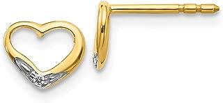 14k Yellow Gold Diamond Heart Post Stud Earrings Love Fine Jewelry Gifts For Women For Her