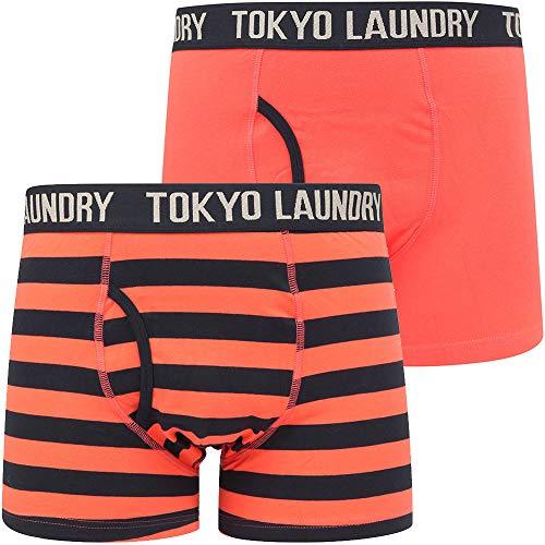 Tokyo Laundry Gestreifte Boxershorts für Herren, Doppelpack Gr. L, Neville 2 - Hot Coral