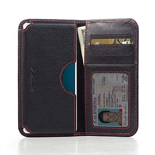 PDAir Oppo R1x Leder Brieftasche Folio Handy Hülle (Rot Stich), Echtleder Brieftasche Hülle Klapphülle Flip Hülle Etui, Luxus Prämie Kreditkarte Brieftasche Hülle für Oppo R1x