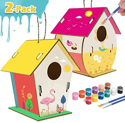 xinxintai Manualidades para niños Artes de Madera y Manualidades para niños Kit de casa de pájaros de Bricolaje para Que los niños construyan y pinten un diseño Reforzado