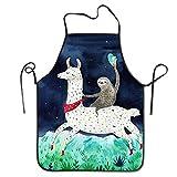nvjui jufopl cooking kitchen chef apron funny bib aprons for women men - sloth riding llama