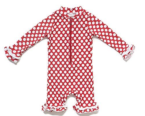Baby Mädchen Ein stück Langärmelige-Kleidung UV-Schutz 50+ Badeanzug MIT Einem Reißverschluss(Rot-Welle punkte,12-18M)
