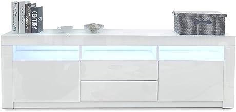 TV Stand Cabinet Storage Wood High Gloss 2 Drawers & 2 Doors White