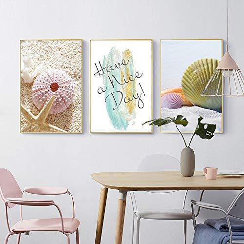 ZHQHYQHHX Goldener Bilderrahmen Dreifach-Wand Muscheln Seestern Creative Arts Wanddekoration Moderne minimalistische Malerei Home Hotel Restaurant Cafe 3pcs / Set Hängende Malerei (Size : 40cm*60cm)
