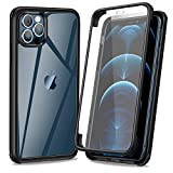 AROYI Funda Compatible con iPhone 12, Funda Compatible con iPhone 12 Pro, 360 Grados Transparente Antigolpes de Protección Integral híbrido con Protector de Pantalla Integrado Silicona Bumper Carcasa