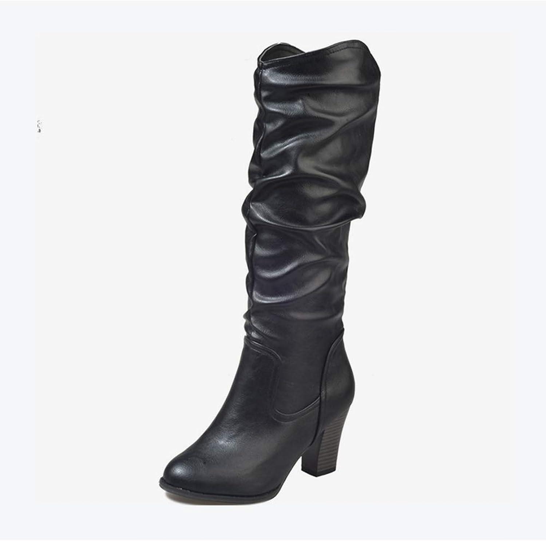 T-JULY Women's High Heels Mid Calf Boots Platform Slip On Square Heel Ladies Winter European Fashionable Footwear