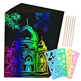 SD SENDAY 59 Pcs Scratch Paper Art for Kids -Rainbow Magic Scratch Paper Set Scratch Crafts Arts Supplies Kits Sheets Notes Boards with 4 Stencils 5 Stylus for Party Favor Game Christmas Birthday Gift