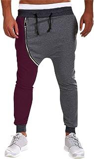 ddd04a78b0a Colmkley Men s Casual Zipper Hip Hop Harem Pants Cotton Gym Joggers  Sweatpants