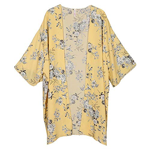 LoveCurvy (C2273S PRT) Plus Size Women's 1/2 Sleeves Multi Print Open Kimono Cardigan (Yellow Flower(YF), 3X)
