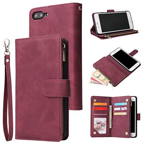 UEEBAI Handyhülle für iPhone 7 Plus iPhone 8 Plus,Retro Reißverschluss Hülle Premium PU Leder Weich Klapphülle Magnetverschluss Kartenfach Standfunktion Geldbörse mit Trageband Schutzhülle - Wein Rot