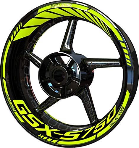 Motocicleta Moto Llanta Inner Rim Tape Decal Pegatinas F2 para Suzuki GSX-S 750 (Fluo)