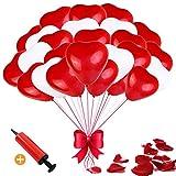 luftballon Herz luftballon Hochzeit luftballon hochzeit Herzballons Herz Ballons Helium Luftballon (Rot Weiß-100) (Rot weiß)