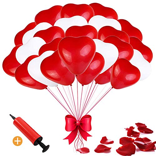 Sunshine smile Herzluftballons Rot Weiß, 100 Stück Luftballons Hochzeit, Herz Luftballons, Latex Herz Ballon Helium 12 Zoll für Hochzeit Verlobung Valentinstag Party Deko