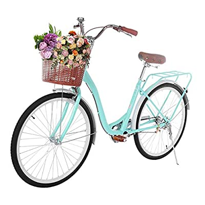 VKEKIEO 26 Inch Cruiser Bike, Classic Bicycle Retro Bicycle with Assembly Tool, Basket Retro, Bicycle Unique Art Deco Scooter, Comfortable Commuter Bike, US Stock