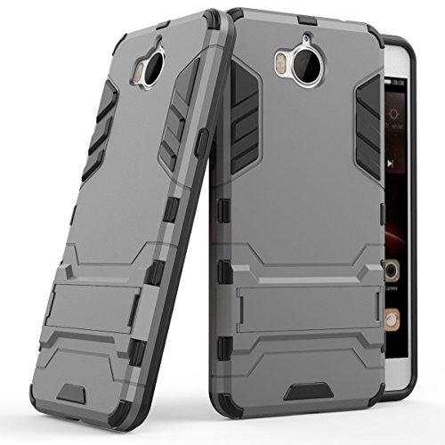 Huawei Y6 2017 Funda, SMTR Ultra Silm Híbrida Rugged Armor Case Choque Absorción Protección Dual Layer Bumper Carcasa con pata de Cabra para Huawei Y6 2017 ,gris
