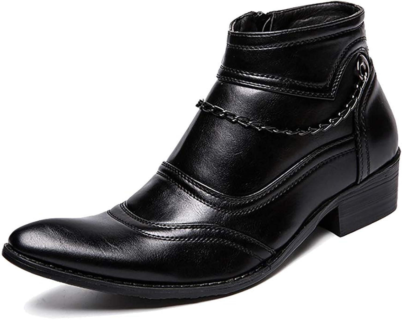Mzq-yq Britische Herrenschuhe, koreanische Trend Hair Stylist-Schuhe, Wilde Martin-Stiefel für Herren, Fusets, Metallkette, Dmpfung, Atmungsaktiv