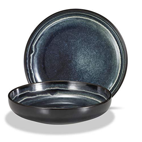 Supremery 2er Set Pastateller aus Keramik, Großer Suppenteller Speiseteller 22cm, tiefer Teller, spülmaschinen-, mikrowellengeeignet, blau All Rivers