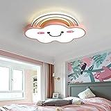 LITFAD Acrylic Rainbow Cloud Flush Light Cartoon Pink Large LED Ceiling Mount Lamp Modern Creative Personality Smile Face Design Ceiling Light for Kids Bedroom Girls Room Study Room, White Light