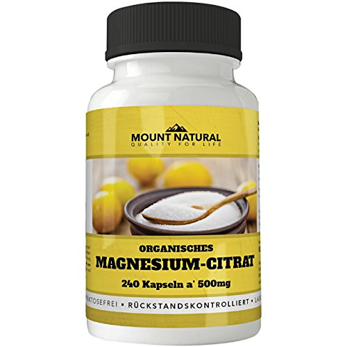 Mount Natural Magnesium 240 Kapseln Hochdosiert. 500 mg Magnesiumcitrat Davon 320mg Elementares Magnesium Pro Tagesdosis. Ohne Zusatzstoffe, Vegan, Laborgeprüft aus Deutschland