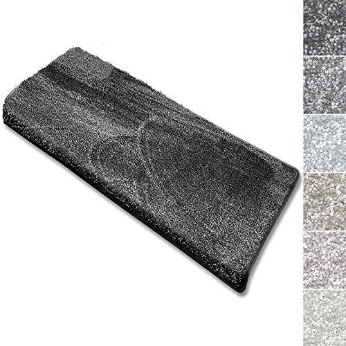 casa pura Coprigradini per Scale Interne - Tappeto Scale Antiscivolo, Effetto Velour (13.5mm) Ultra - Morbido in Numerosi Colori Pastello - Rettangolare - Set da 15-23.5x65 - Antracite