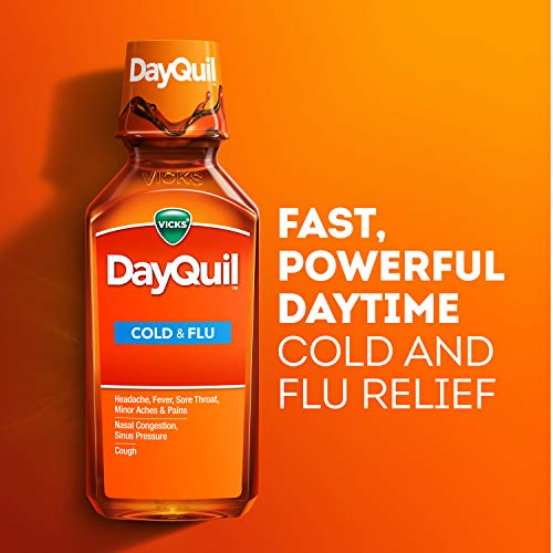 Vicks DayQuil Cough, Cold, & Flu Multi-Symptom Relief, 12 Fl Oz (Non-Drowsy) - Sore Throat, Fever, and Congestion Relief