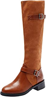 Women Vintage Long Boots, Ladies Solid Round Toe Fashion Buckle Knee High Tube Boots