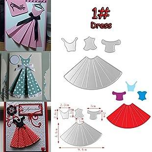 ZHOUBA Cute Dress Umbrella Cutting Dies Stencil Scrapbook Paper Cards DIY Crafts Tool (1#)