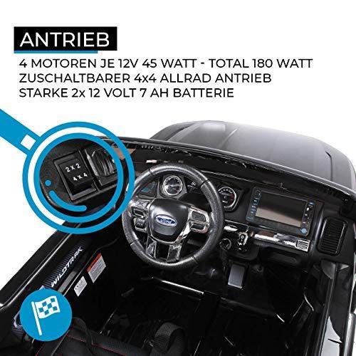RC Kinderauto kaufen Kinderauto Bild 1: Actionbikes Motors Kinder Elektroauto Ford Ranger Modell 2018 Allrad 4x4 / 2x4 Lizenziert SUV 2 Personen 4 x 12 V 45 Watt (Total 180 Watt) (Schwarz)*