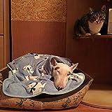 Dog Blanket Pet Soft Fluffy Fleece Bull Terrier Print Pet Cat Bed Blanket Throw (Blue)