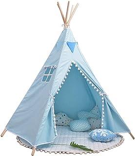 Vobajf Lektält för barn inomhus lek tipi-tält 100 % bomull canvas teepee lekstuga för barn småbarn lektält (färg: Blå, sto...