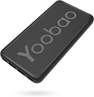 Yoobao Portable Phone Charger 10000mAh Slim External Battery Pack Phone Battery Charger Power Bank (Dual Output, USB-C Input) Compatible with iPhone X 8 7 6s Plus, Samsung Galaxy and More - Black