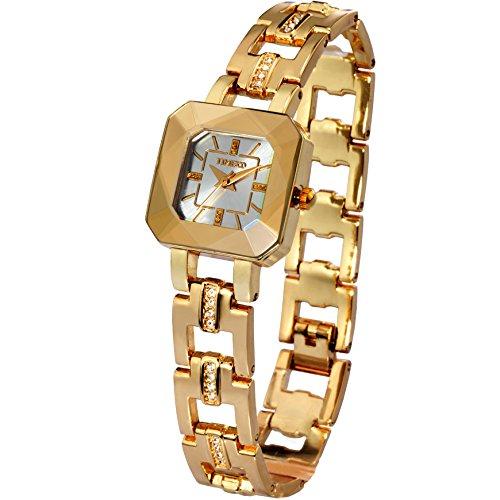 Time100 Reloj para Mujeres, Correa de Acero Inoxidable Color Dorado