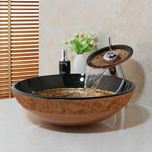 ABDD Keramik Waschbecken Waschbecken aus gehärtetem Glas Waschbecken handbemalten Wasserfall Wasserfall Bad Wasserhahn Kombination Set Wasserhahn Wasserhahn