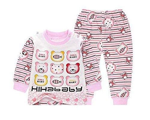 OHmais Bébé Fille garçon Unisexe Grenouillère Ensemble de Pyjama 2 Pieces Coton