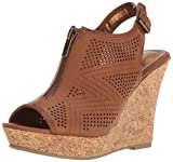 Rampage Women's Chamomile Peep Toe Sling Open Back Wedge Sandal, Dark Natural Smooth