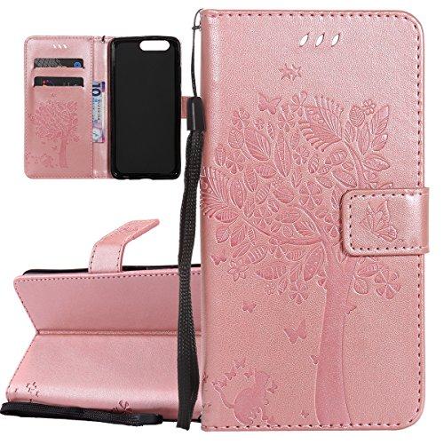 ISAKEN Compatibile con Huawei P10 Plus Custodia, Libro Flip Cover Portafoglio Wallet Case Albero Design in Pelle PU Protezione Caso con Supporto di Stand/Carte Slot/Chiusura - Rose Gold