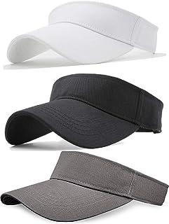 Sikuer Sun Visor, 3pcs Visor Hat, Cotton Outdoor Sport Beach Golf Visor Cap for Women Men 3 Color Packed, Adjustable
