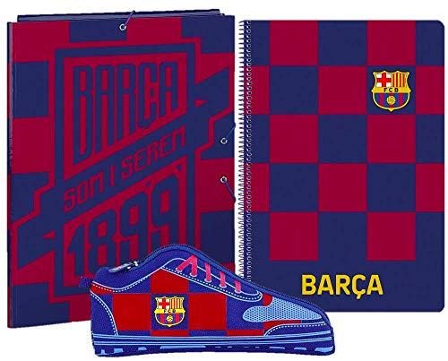 Barcelona FC Schreibwaren Geschenkset, Fußball-Geschenkset für Kinder, Enthält A4-Notizbuch (80 Seiten), Ordner und Federmäppchen, Geschenk für Jungen!