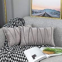 UPOPO Cojines Raya Sofa Terciopelo Funda Decorativos Cojin Salon Cama para Super Dormitorio 2 Piezas de Color Sólido De Cojín Suave Almohada Sala De Estar con Cremalleras 30 X 50 cm Gris Claro