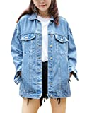 Omoone Women's Oversized Mid Long Denim Jacket Jean Biker Coat(0199-Denim Blue-L)