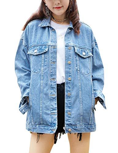 Omoone Women's Casual Washed Oversized Boyfriend Denim Trucker Jacket Jean Coat