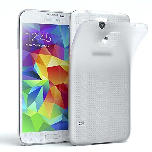 EAZY CASE Hülle kompatibel mit Samsung Galaxy S5 / S5 LTE+ / S5 Duos / S5 Neo Schutzhülle Silikon, matt und Ultra dünn, Slimcover, Handyhülle, Hülle/Soft Hülle, Silikonhülle, Backcover, Transparent/Weiß