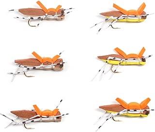 Morrish Hopper Trout Fly Fishing Flies - Foam Body Grasshopper Dry Fly - 6 Flies - 3 Yellow, 3 Tan - Hook Size 10