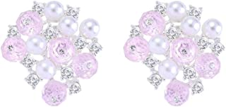 Birthstone Clip on Earrings for Women,Plated Silver Rhinestone Simulated Pearl Facet Crystal Cluster Clips