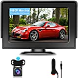 AHD 1080P Wireless Backup Camera Kit Hikity Waterproof Rear View Camera Digital Wireless Stable Signal Night Vision Reversing Camera for Car + 4.3 Inch Monitor with Cigarette Lighter