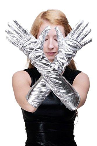 Dress Me Up - Z080 Karneval Fasching Schicke Handschuhe Damenhandschuhe lang Burlesque Silber silberfarben roboterliebe futuresk